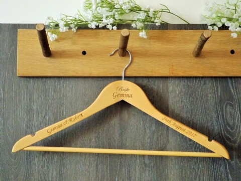 Personalised Wooden Wedding Bridal Dress Hanger Bride Bridesmaid Gift